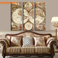 Unframed 3 Panel Vintage World Map Europe Painting Home Decor Wall Art Picture Canvas Printed Painting