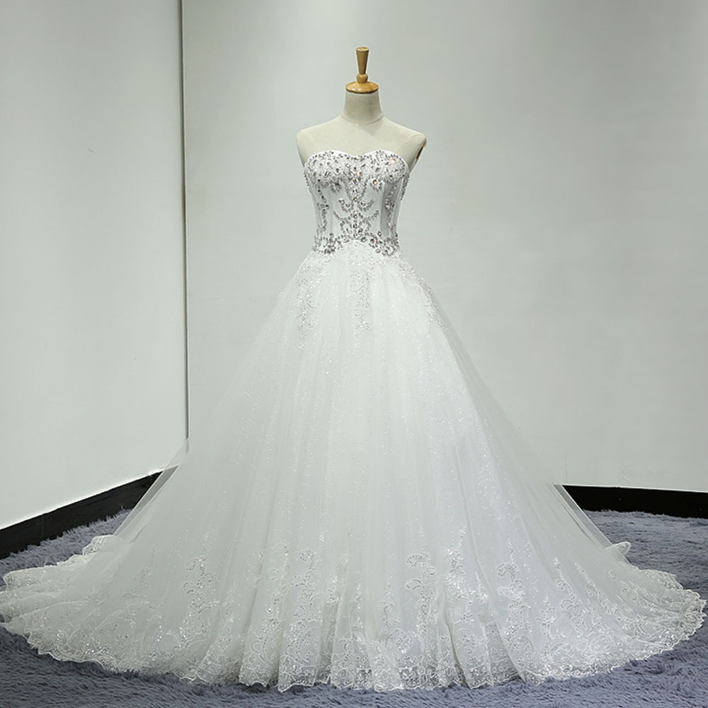 Vestido Casamento 2019 New Special Sparkly Beading Crystal Sequins A-line Wedding Dresses With Petticoat <font><b>Aliexpress</b></font> <font><b>Login</b></font> image