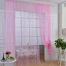 1M x 2M European Style Floral  Home Decoration Modern Curtain Tulle Fabrics Organza Sheer Panel Window Curtain