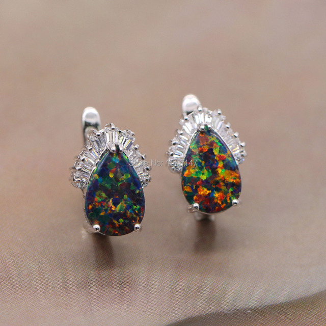 Beautiful Shining Noble Wholesale Jewelry Colorful Fire Opal Zircon 925 Stamp Earrings