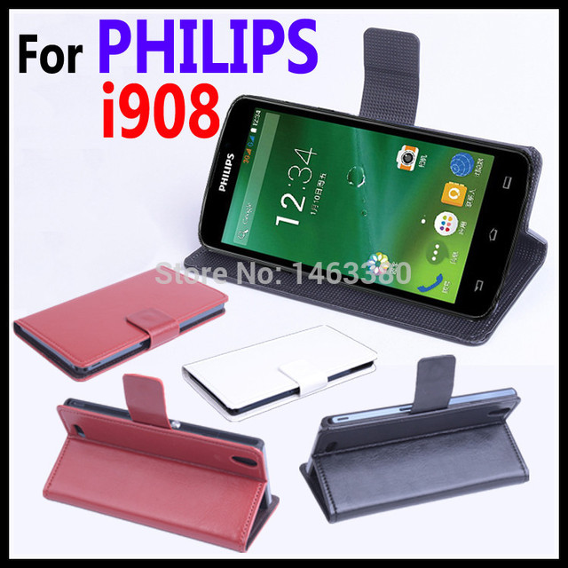 High Quality Leather Case For PHILIPS i908 Flip Cover Case With Card Slot For PHILIPS i 908 Leather Cover Case Phone Cases
