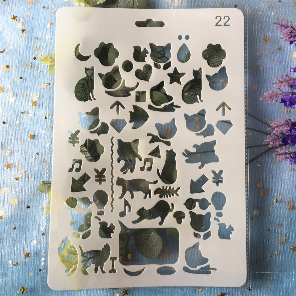 26cm Animals Cat Fox DIY Craft Layering Stencils Painting Scrapbooking Stamping Embossing Album Paper Template