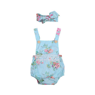 2pcs Cute Newborn Floral Lace Girls Romper Infant Baby Summer Sleeveless Backless Playsuit Jumpsuit Sunsuit Outfit Baby Onesie newborn infant baby clothes girl floral strap lace romper jumpsuit playsuit outfit cute summer baby romper onesie