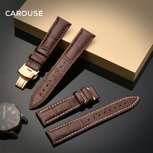 Image 2 - להתהולל רצועת השעון 18mm 19mm 20mm 21mm 22mm 24mm עגל עור להקת שעון פרפר אבזם רצועת צמיד אביזרי Wristbands