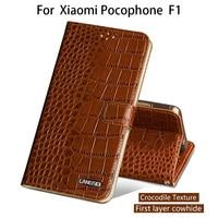 Flip Phone Case For Xiaomi Pocophone F1 Case For A1 A2 Lite Max 2 3 Mix2s Redmi Note 5 Genuine Leather Crocodile Texture Cover