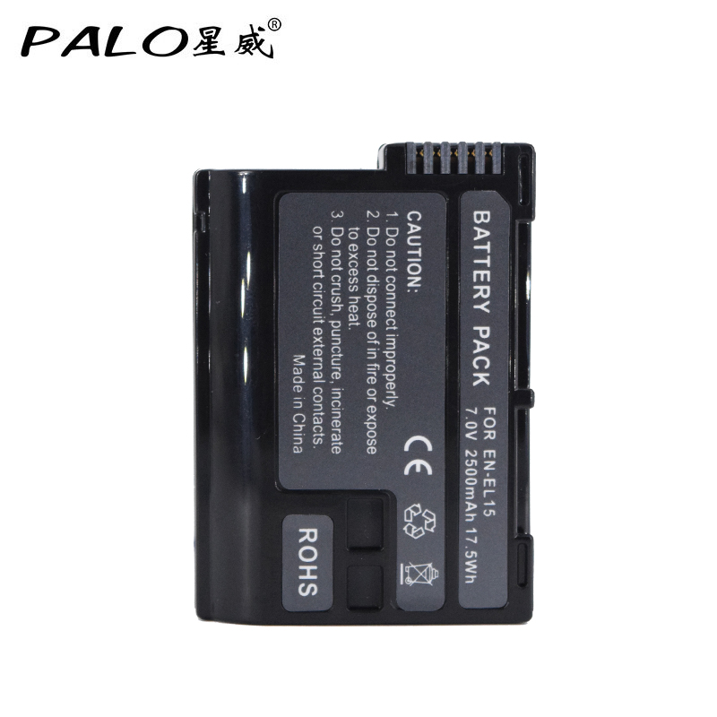 Palo 2500mAh EN-EL15 ENEL15 EN EL15 decoded Camera Battery For Nikon DSLR D600 D610 D800 D800E D810 D7000 D7100 D7200