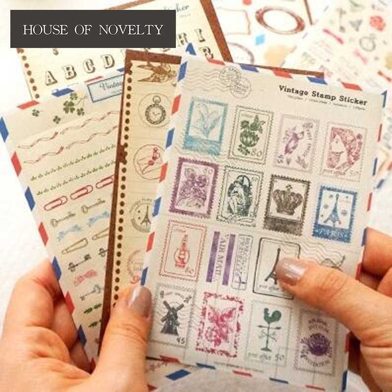 6 pcs/pack Vintage Stamp Sticker Cartoon Stickers Diary Sticker Scrapbook Decoration PVC Stationery Stickers colorful creative various designs decorative stickers for phone diary sticker scrapbook decoration pvc stationery stickers