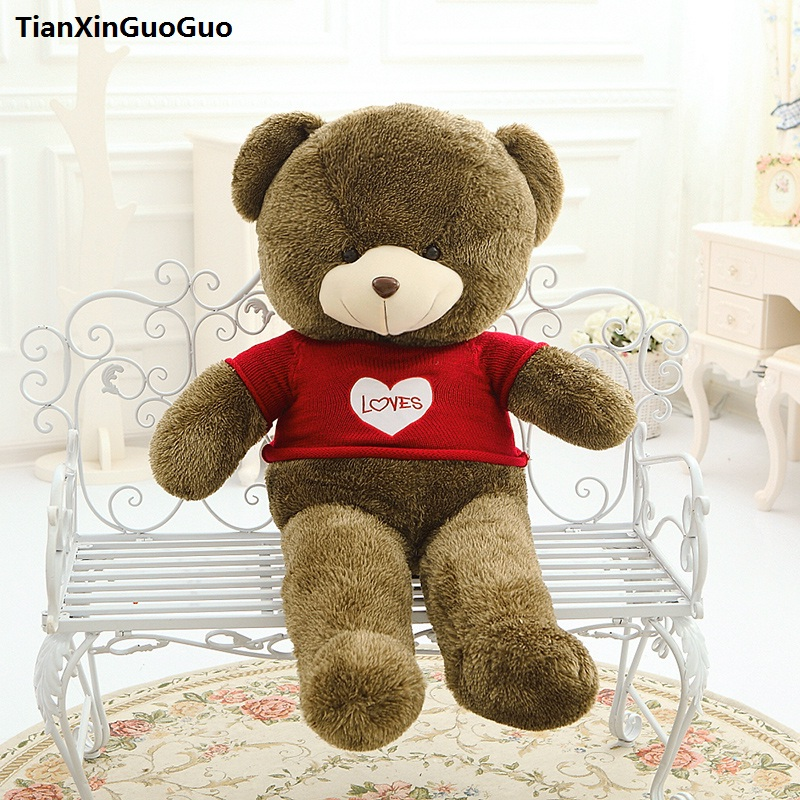 large 100cm brown teddy bear plush toy loves red sweater bear soft doll throw pillow birthday gift s0921