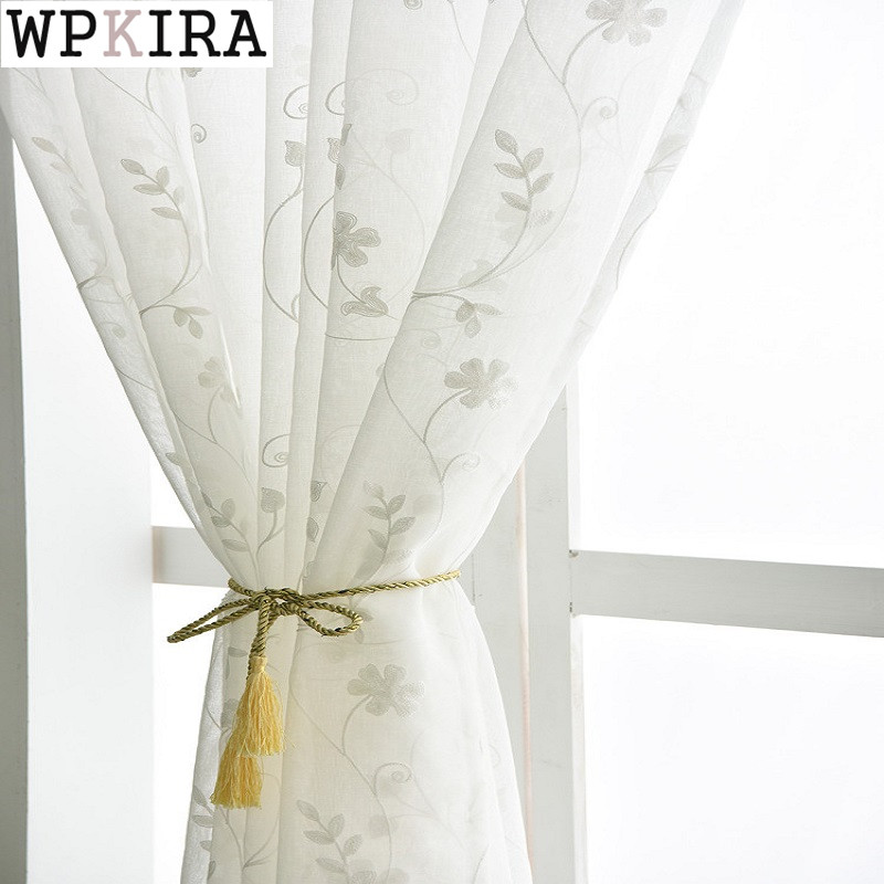 Cortinas de gasa bordadas europeas cortinas transparentes de dormitorio para sala de estar cortinas de tul para ventanas/paneles Pantalla de ventanas ZH020 y 30 3 colores 150 cm x 180 cm Panel transparente Voile ventana cortina habitación Floral tul bufandas cortinas