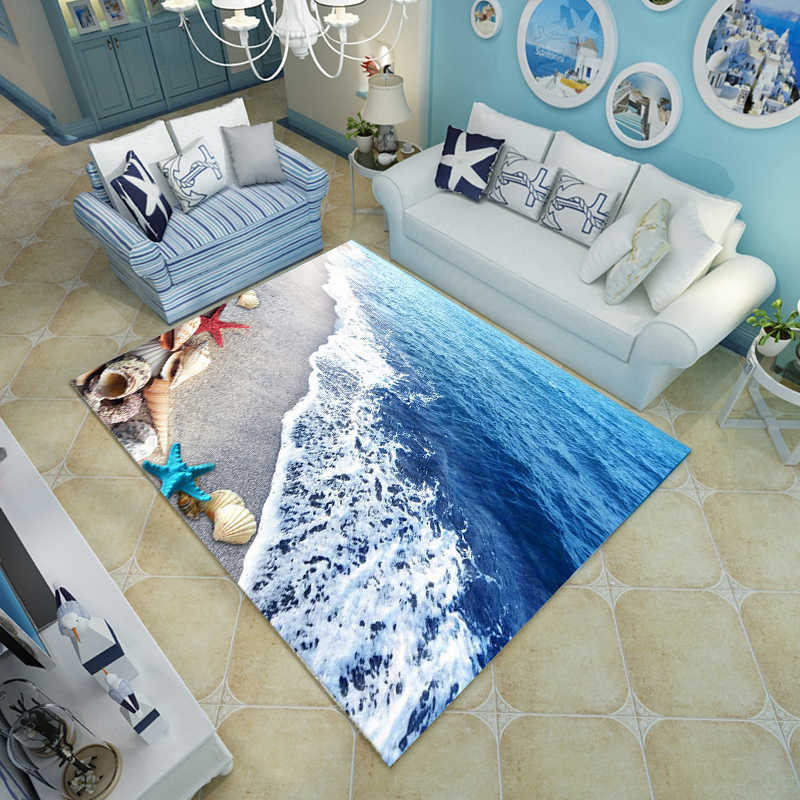 Blue Sea Beach Mediterranean Style 3D Carpet Living Room Coffee Table Sofa Bed Bedroom Floor Mat Custom Washable Beach Shells