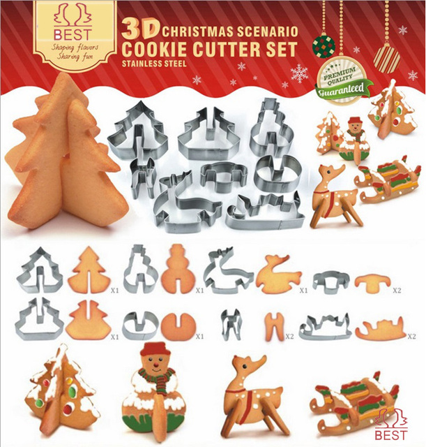 stainless steel 3d christmas scenario cookie cutter set metal snowman tree deer car mold childs love - Metal Christmas Cookie Cutters
