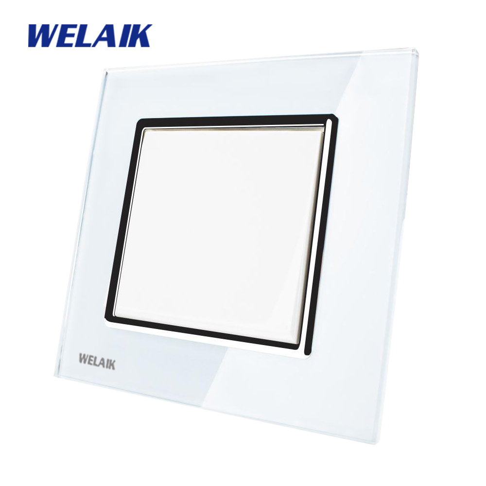 WELAIK Push Button Switch Manufacturer of Wall Light Switch Black White Crystal Glass Panel AC 110-250V 1Gang 1Way A1711W/B manufacturer xenon wall switch 110 240v smart wi fi switch button glass panel 1 gang ivory white eu touch light switch panel