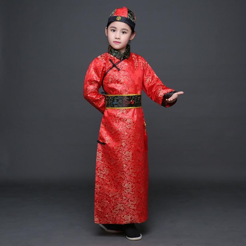 Çocuk Qing Hanedanı Kostüm ile Boy Çocuk Çin Hanfu Şapka - Dans Kıyafetleri ve Sahne Kostümleri - Fotoğraf 3