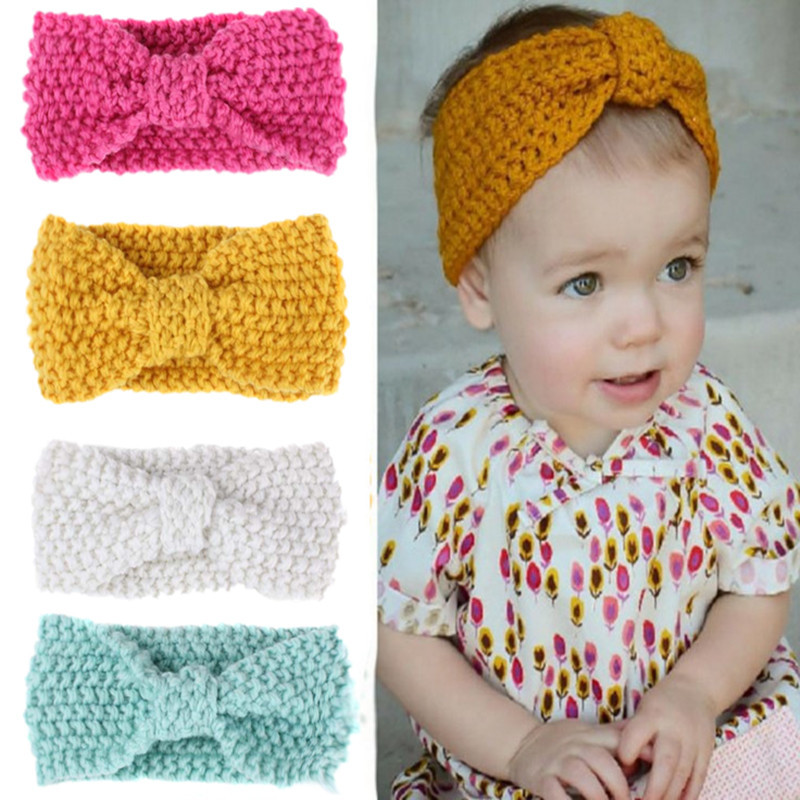 Baby Knit Headband Woolen Crochet Top Head Wrap Kids Turban Knot Hairband