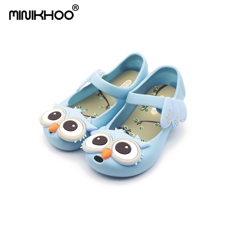 Mini Melissa 2018 New Cute Owl Jelly Sandals Girl Jelly Sandals Baby Shoes Breathable Melissa Beach Sandals 4color High Quality