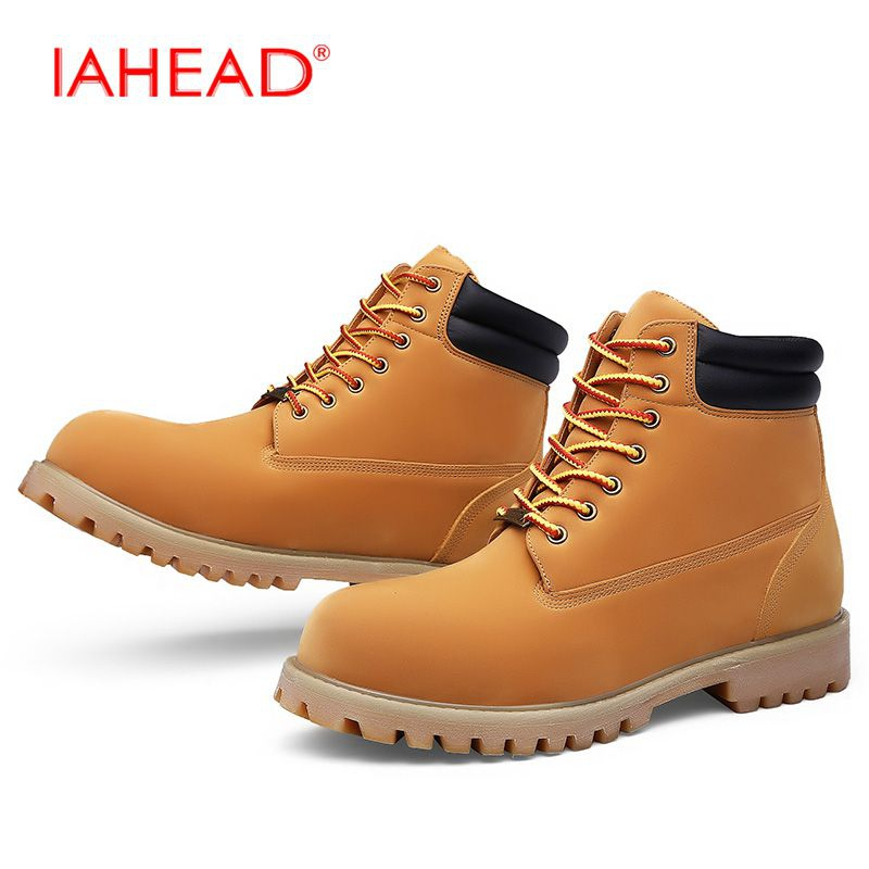 IAHEAD Men Martin Boots Plus Size 39-50 Lace-Up Leather Winter Boots Tactical Boots Men Shoes Wear Resisting Casual Shoes MH552 iahead men boots genuine leather flats new casual shoes lace up warm winter boots men plus size 38 48 rain shoes men mh586