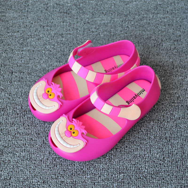 ee2ff431bb23 kids sandal 2017 Cute Toddle Girls Jelly shoes PVC Baby sandals Cartoon  Alice Cheshire cat Soft leather Boys Girls sandals