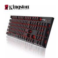 Kingston HyperX клавиатура сплав FPS Механическая игровая клавиатура синие переключатели 104 keycapсветодио дный подсветка fingerboar Gamer для ПК