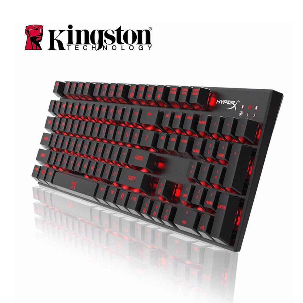 Kingston HyperX Keyboard Alloy FPS Mechanical Gaming Keyboard Blue Switches 104 Keycaps LED Backlight fingerboar Gamer for PC ...