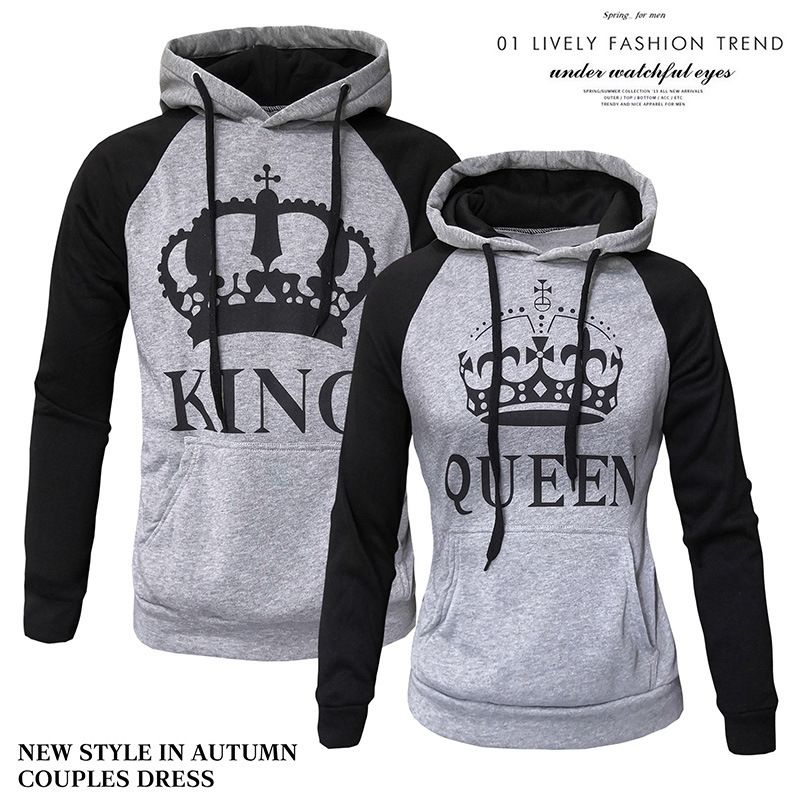 2018 King Queen Crown Print Unisex Men Women Autumn Hoodies Slim Sweatshirt For Couple Lovers Winter Patchwork Hooded Pullovers Women's Clothing