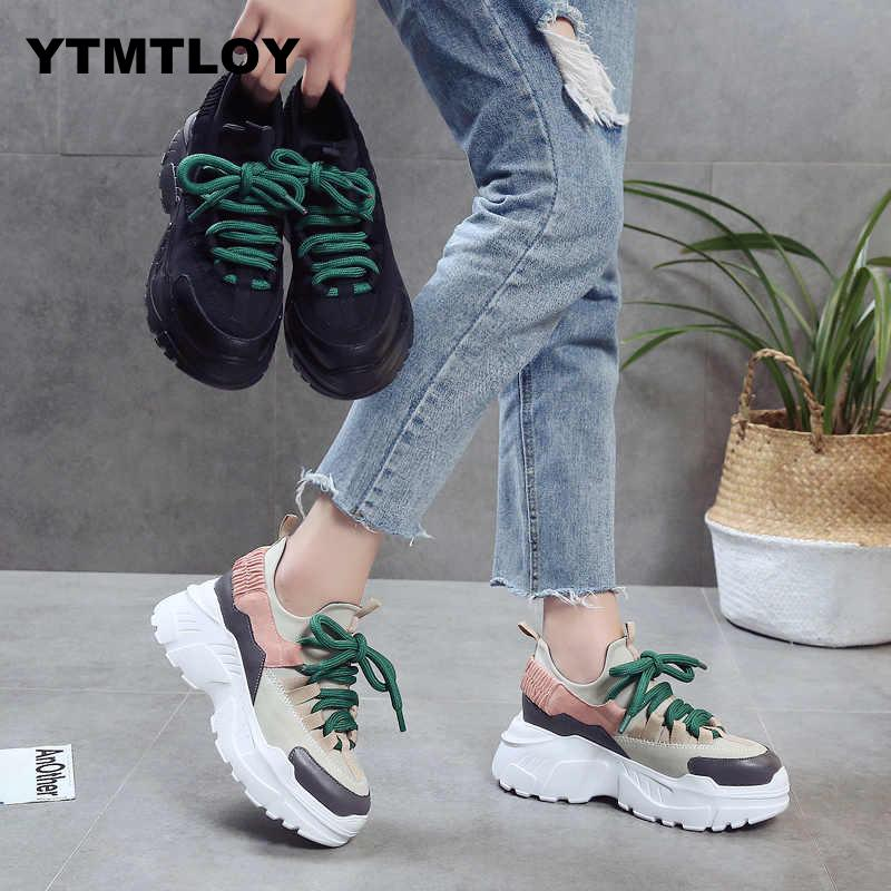 0707f3b6c 2019 Primavera Outono Mulheres Sapatos Casuais Confortáveis Sapatos de  Mulher Plataforma Sneakers Senhoras Chaussure Femme Formadores Tenis  Feminino 8 CM