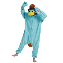 Blue Fleece Unisex Perry the Platypus Costume Onesies Monster Cosplay Pajamas Adult Pyjamas Animal Sleepwear Jumpsuit(China)