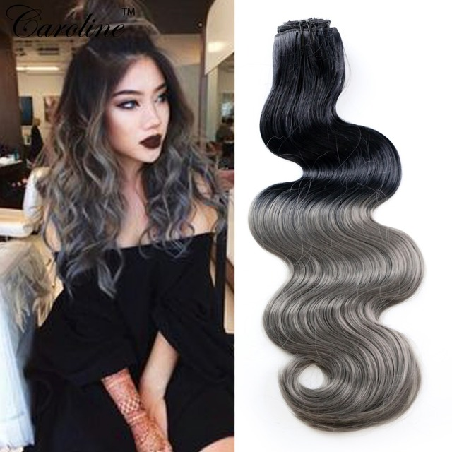 8pcslot 20inch ombre body wave synthetic hair extensions color 1b 8pcslot 20inch ombre body wave synthetic hair extensions color 1bgray white girl pmusecretfo Choice Image