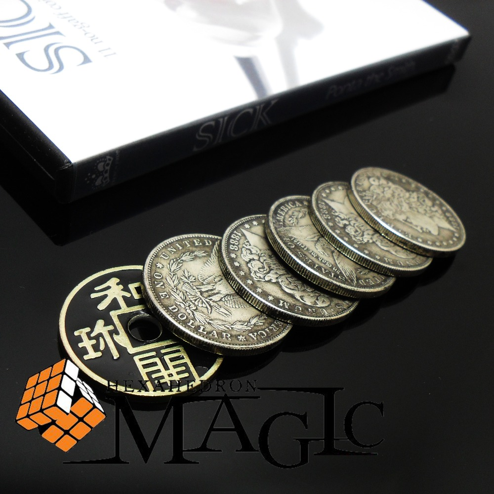 SICK By Ponta The Smith Teaching & 6 Coins Set / Close-up Stage Street Floating Magic Tricks Products Toys