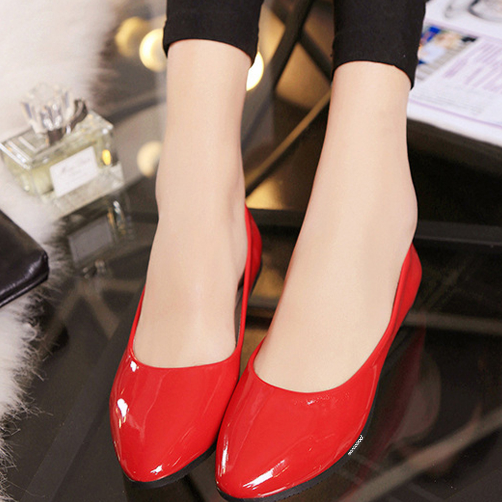 Women Fashion Candy Color Flat Shoes Business Faux Patent Leather Pointed Shoes exquisite candy color faux gem embellished flower pattern bracelet for women