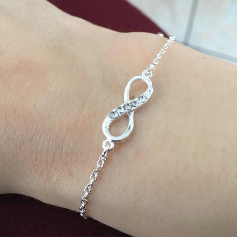 Moda kryształ kamień bransoletki dla kobiet biżuteria numer 8 nieskończoność bransoletki i łańcuszki na rękę Charms złoto srebro Femme