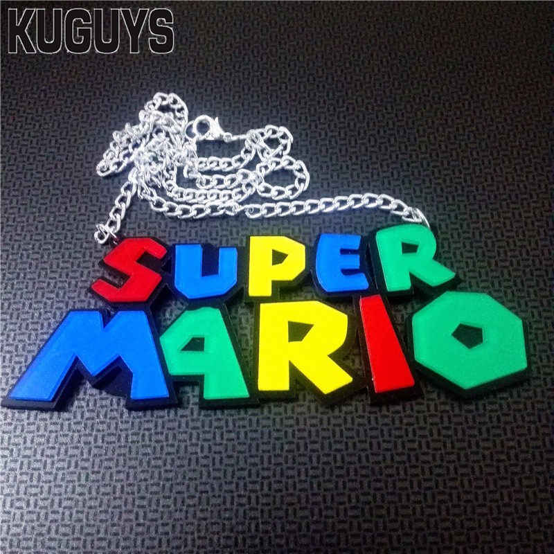 KUGUYS Jewelry Silver Link Chain Necklaces for Women Fashion HipHop Acrylic Colorful Letter SUPER MARIO Pendant Necklace Woman