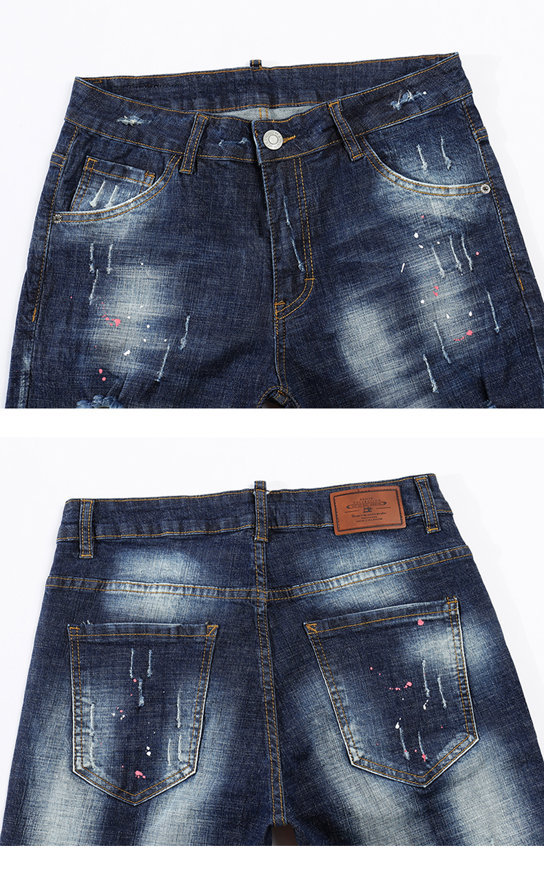 KSTUN Summer Mens Shorts Jeans Man Distressed Painting Frayed Biker Jeans Hollow Out Stretch Blue Denim Pants Short Male Jean 13