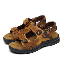 Men Leather Sandalias Outdoor Genuine Leather Cowhide Male Summer Shoes LM-05