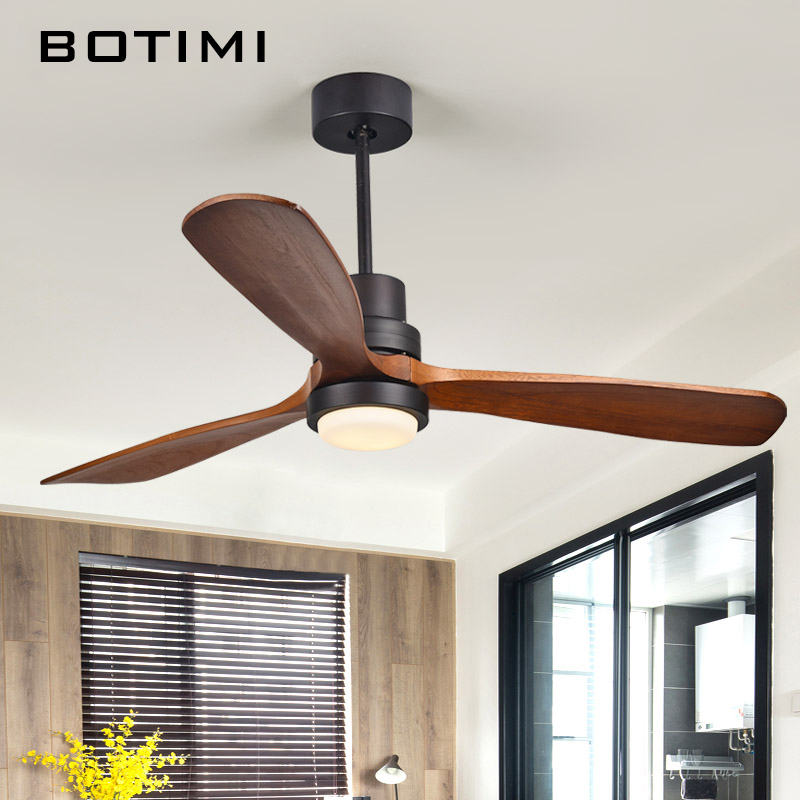 Botimi New LED Ceiling Fan For Living Room 110V 220V Wooden Fans With Lights 52 Inch Blades Cooling Remote Lamp