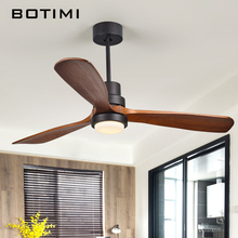 BOTIMI 220V LED Ceiling Fan For Living Room Nordic Wooden Ceiling Fans With Lights 52 Inch Blades Cooling Fan Remote Fan Lamp