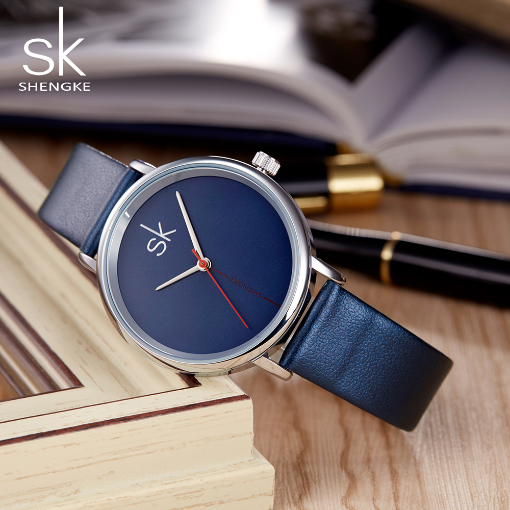 Shengke Women Watch Luxury Top Brand Business Clock Leather Navy Fashion Ladies Relogio Feminino 2018