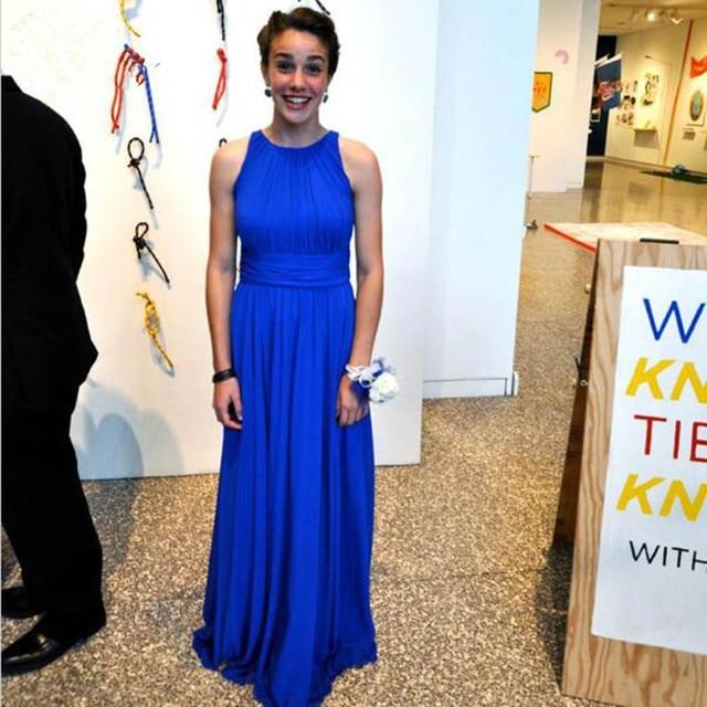 Fashion A Line Prom Gown Sexy Royal Blue Chiffon Pleats Floor Length Wedding Party Dress Plus Size