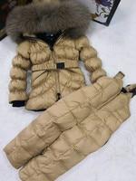 Brand 2018 Winter Jacket Children Down Jackets & PANT Duck Down Raccoon Fur Hooded Girl Snowsuit Boy Suit Set Outerwear Ski Suit
