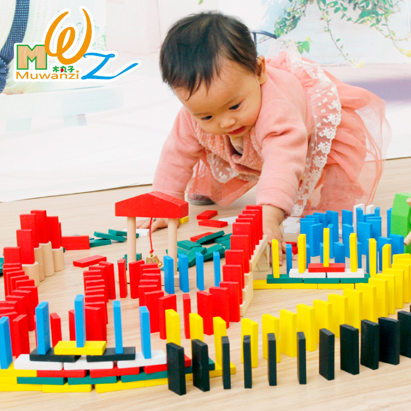 MWZ 480pcs Wooden Domino Blocks Set for Kids Intelligence Building and Stacking Blocks Education Toy mwz 54pcs wooden tumbling stacking tower block board game fro adult children