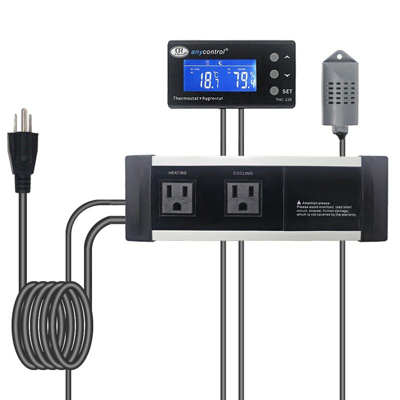 THC 220 EU US UK Digital Thermostat Hygrostat 220V 50 60Hz Temperature Regulator Humidity Controller Relay