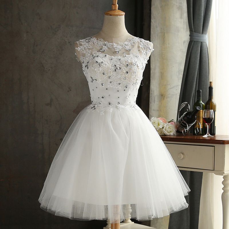 Bealegantom White Short   Prom     Dresses   2018 Tulle Applique Homecoming Cocktail Party Special Occasion Gown Vestido Fiesta QA1527