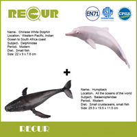 2 Pcs Lot Recur Toys Chinese White Dolphin Humpback Marine Model Hand Painted Soft PVC Action