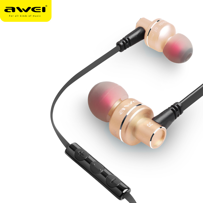 Awei ES 10TY In-Ear Earphone headset with Mic Microphone for mobilephones MP3 Stereo Bass Earbuds with 3.5mm jack fone de ouvido keeka mic 103 stylish universal 3 5mm jack wired in ear headset w microphone red blueish green