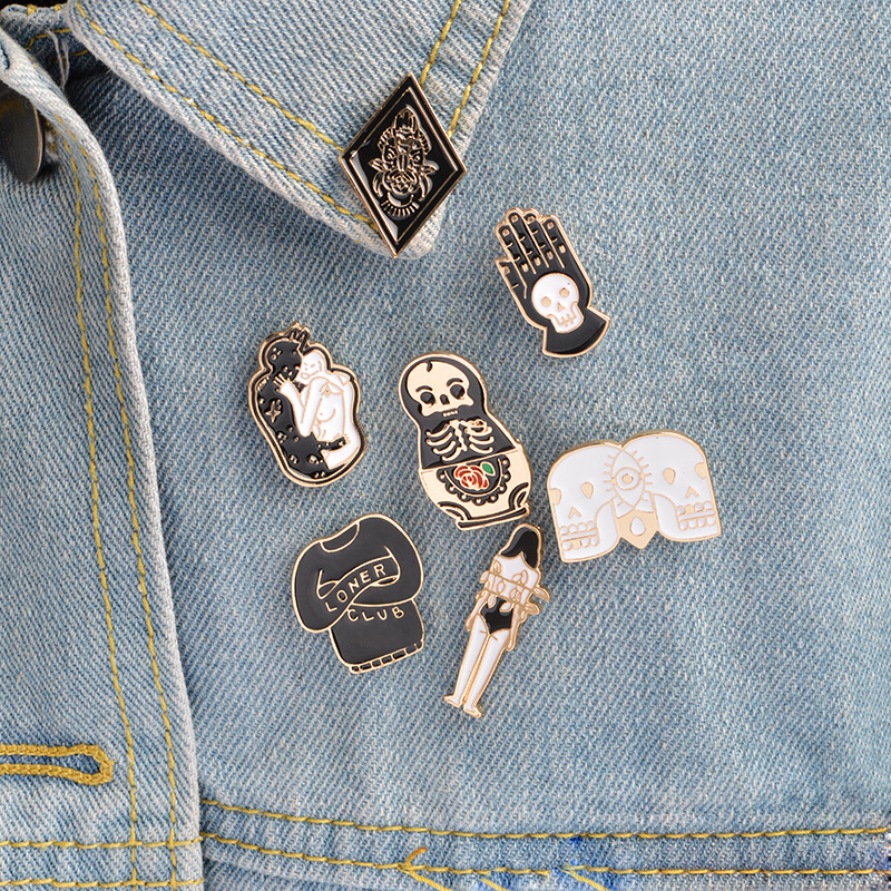 7 stks / set Schedel Pin Broche set Metalen Emaille pin Knop Badges - Mode-sieraden