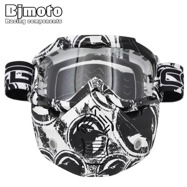 Vintage Wajah Helm Masker Dilepas Kacamata Skuter Jet Helm Goggle Topeng  Ski Skate Motocross Kacamata Motor c4779fc8ad