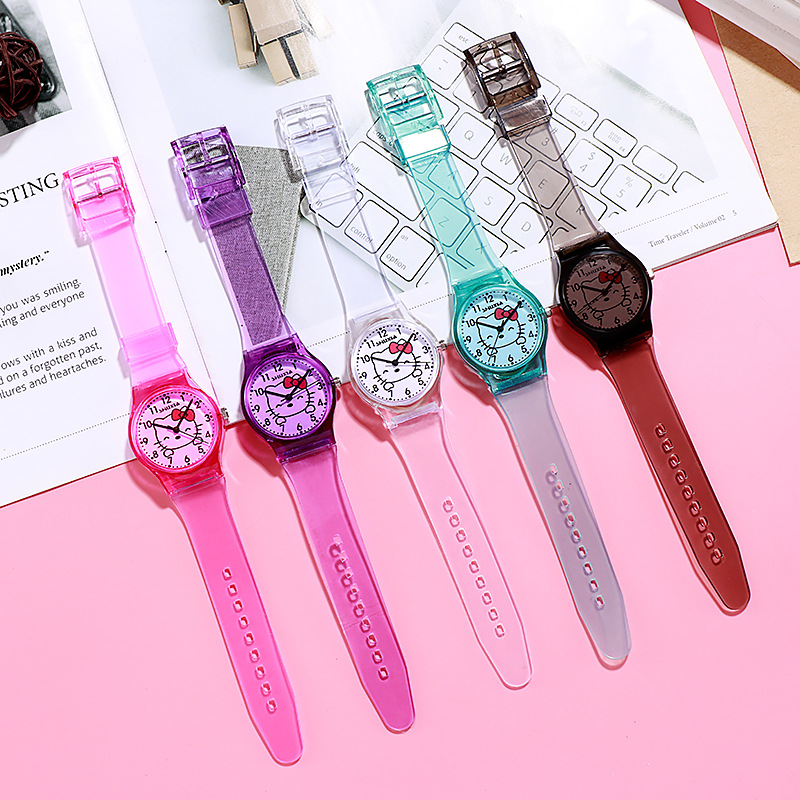 Fashion Small Fresh And Simple Cute Children's Cartoon Hello Kitty Digital Transparent Watchband Girls Electronic Quartz Watch