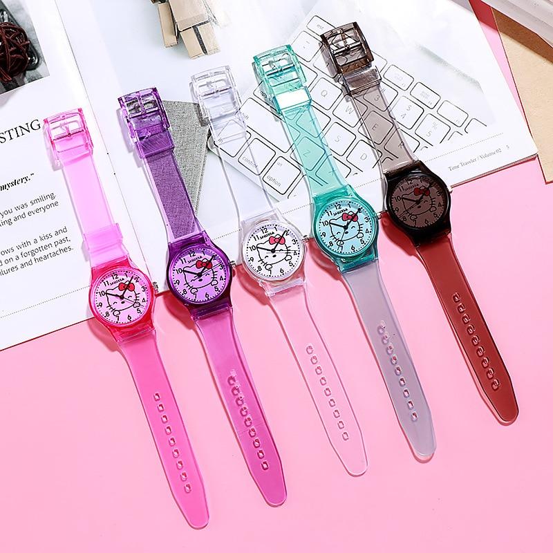 Fashion Small Fresh And Simple Cute Children's Cartoon Hello Kitty Digital Transparent Watchband Girls Electronic Quartz Watch