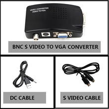 BNC to VGA Video Converter, S-video Input to PC VGA Out Adapter with dc cable or s video cable or power adapter