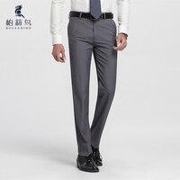 Homens Slim Fit Terno Separado Flat-Front Pant Casamento Formal Escritório de Negócios Em Linha Reta Calças Masculinas Cinza Claro Fina vestido Calças