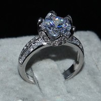 Women Gift 100 Solid 925 Sterling Silver Jewelry Brand Engagement Wedding Rings Lotus Flower 1 5ct